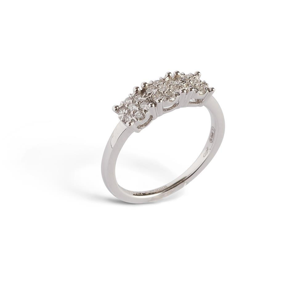 RING 18KT WHITE GOLD WITH 3 INVISIBLE MULTISTONES, 0,36 CT, SIZE 14 Available in different weighing in carats