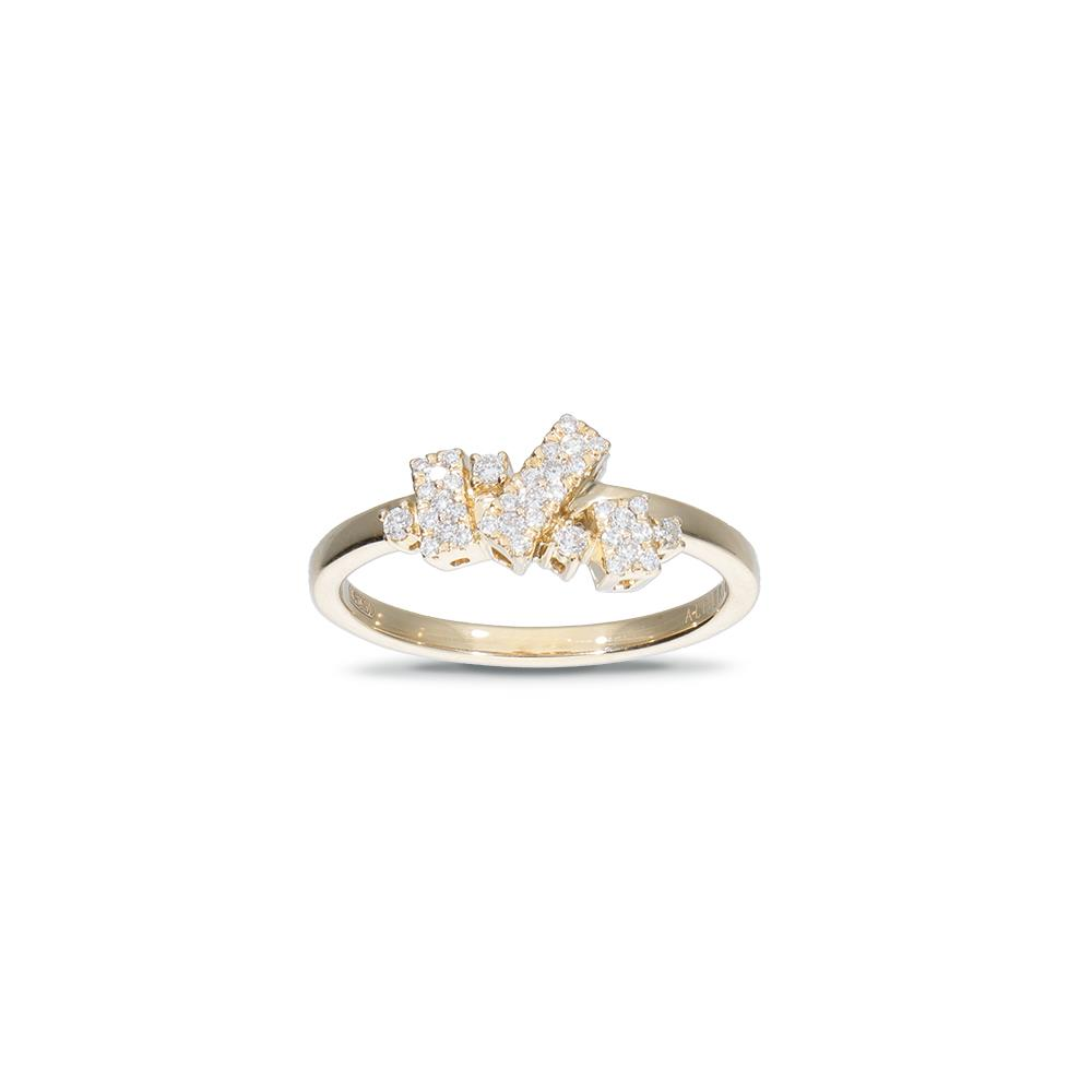 Yellow gold ring with diamonds 0,20 ct