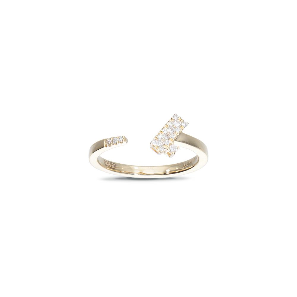 Yellow gold ring with diamonds 0,12 ct