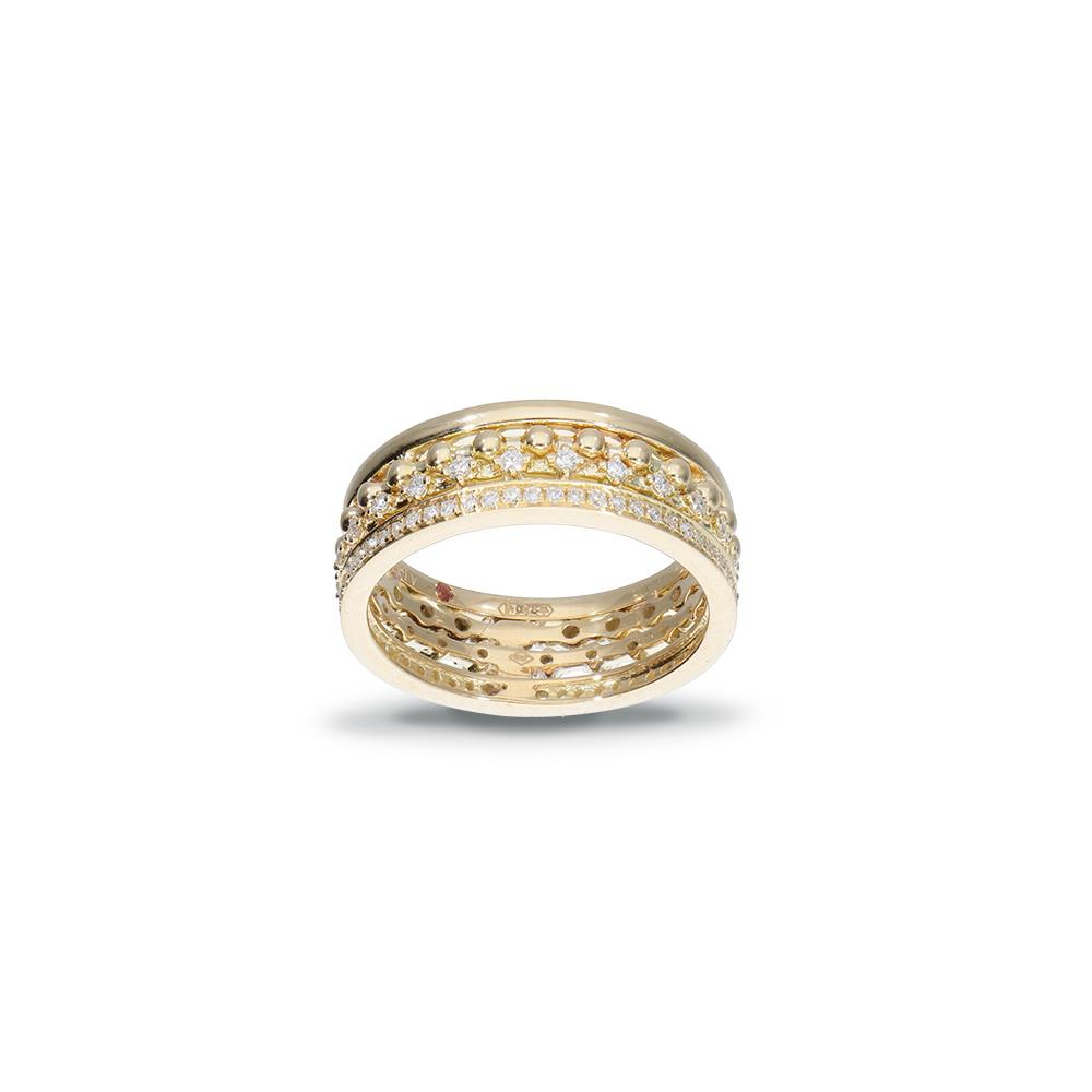 Yellow gold ring with diamonds 0,35 ct