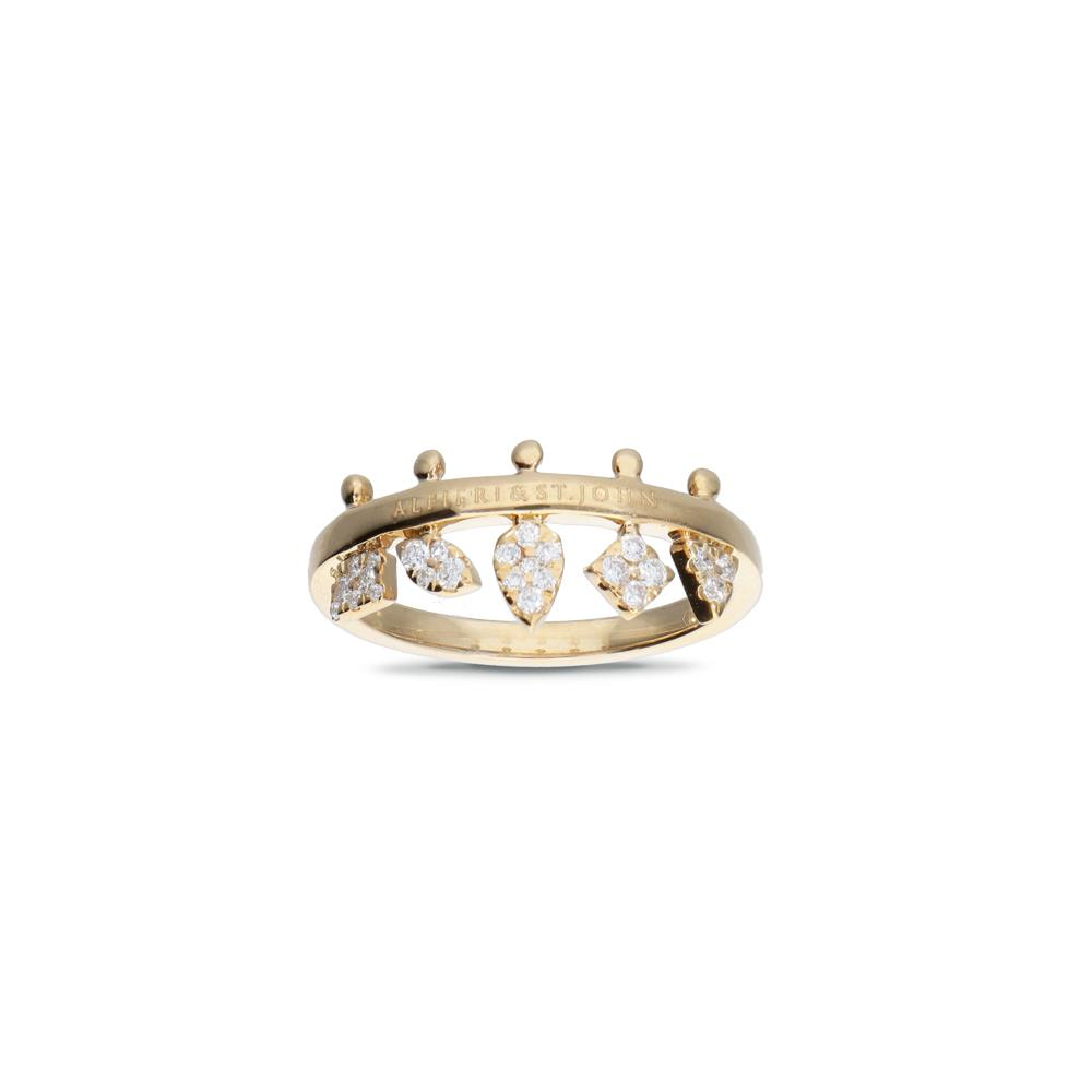 Yellow gold ring with diamonds 0,25 ct