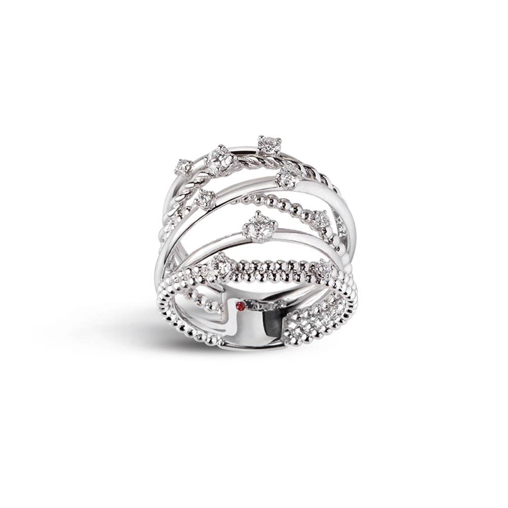 Alfieri & St John 1937 collection multi-strand ring in white gold with diamonds ct 0.35, color G, purity SI. Measure 14