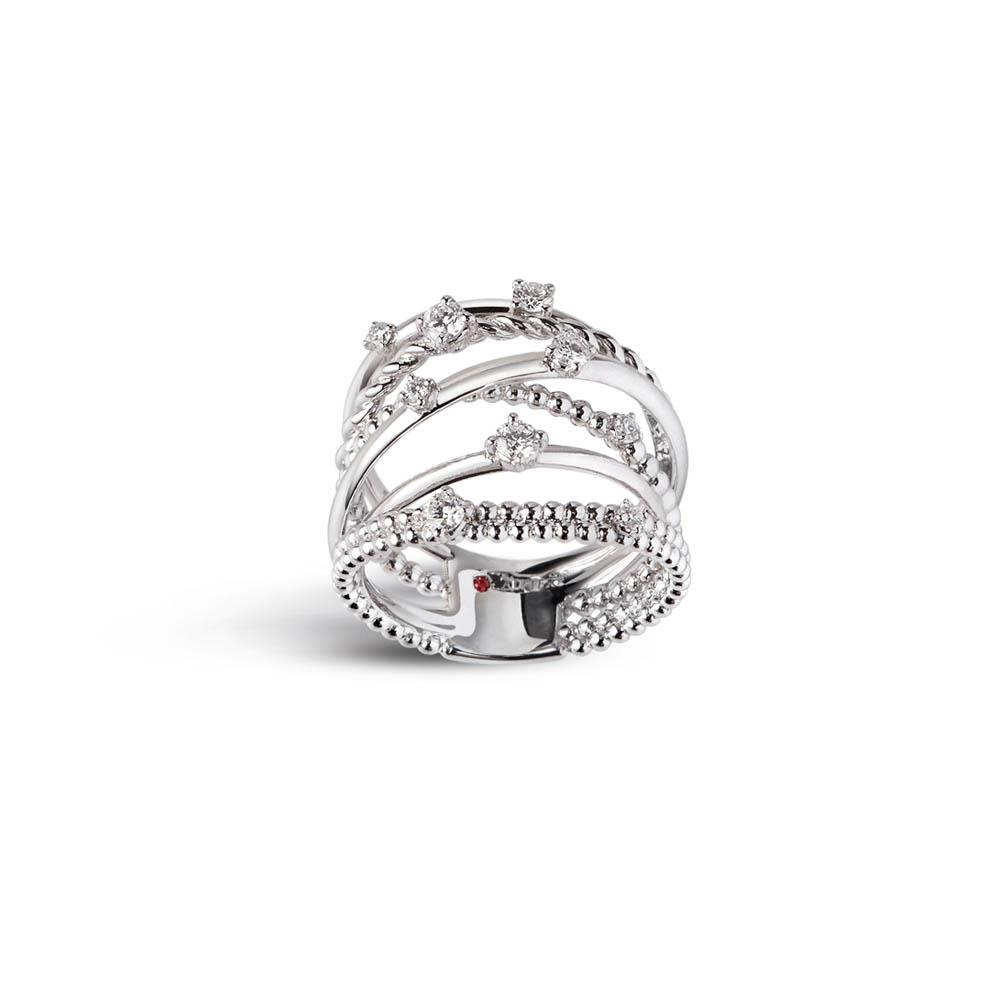 Alfieri & St John 1937 collection multi-strand ring in white gold with nine diamonds ct 0.50, color G, purity SI. Measure 14
